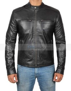 fitted black leather jacket
