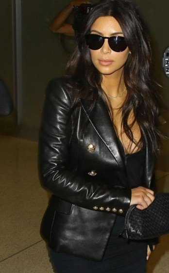 kim kardashian leather blazer jacket black