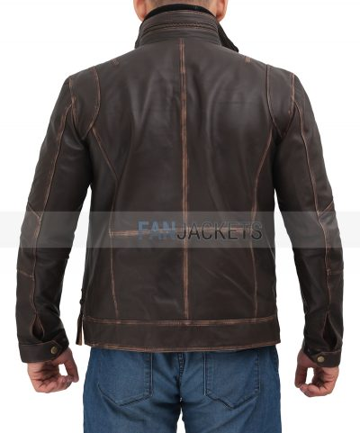 men real leather jacket brown