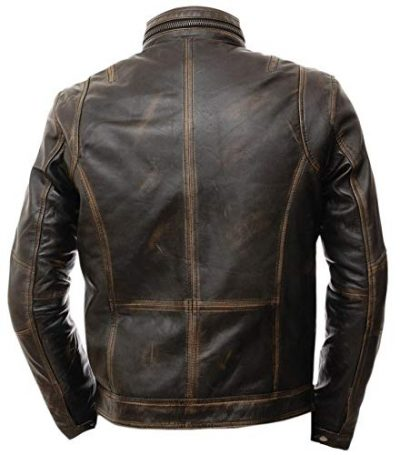 moffit distressed brown leather jacket