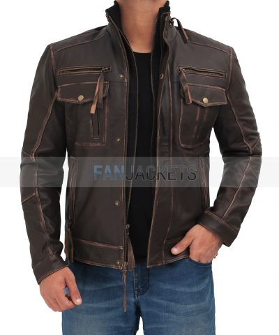 real leather brown jacket men
