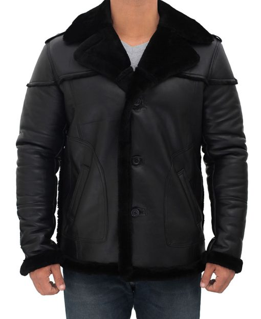 Lambskin leather shearling black jacket for men