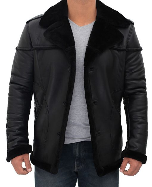 Mens black leather shearling jacket