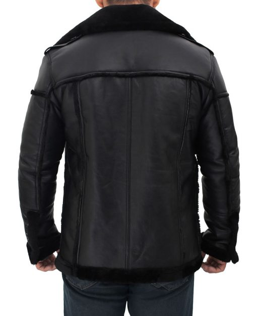 Mens black leather winter jacket