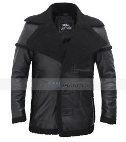 mens black leather shearling coat jacket