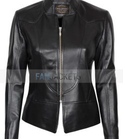 Amy black leather jacket for women