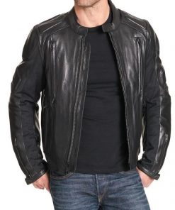 Black Cowhide Leather Jacket