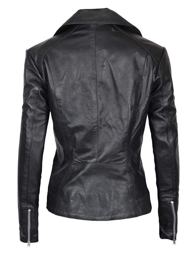 Black biker jacket womens leather