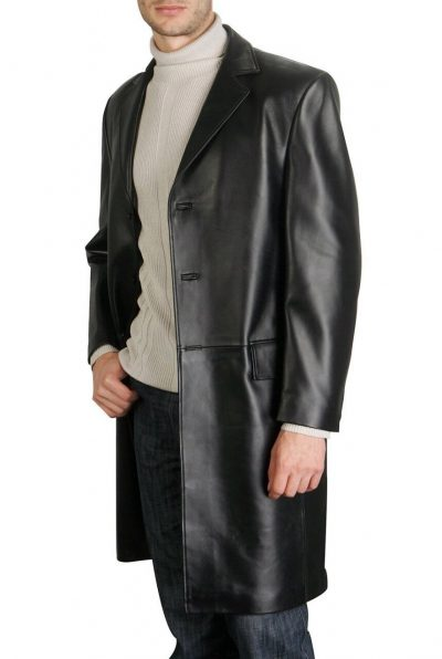 Black long coat walking cow hide leather men