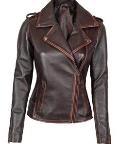 Brown Asymmetrical Leather Jacket