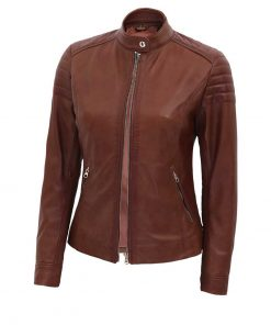 Brown lambskin leather biker jacket women