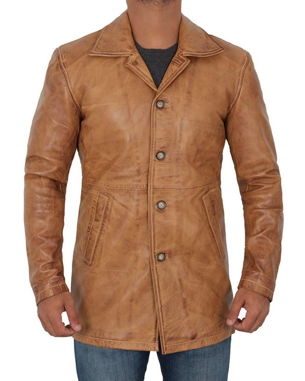 Brown leather coat jacket button pockets