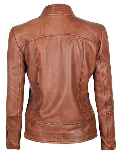 Brown leather jacket cafe racer women biker style