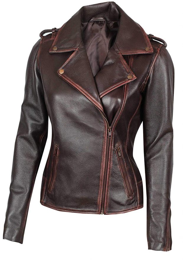 Brown leather motorcycle jacket lambskin