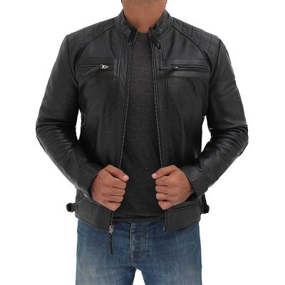 Cafe Racer Black Leather Jacket men