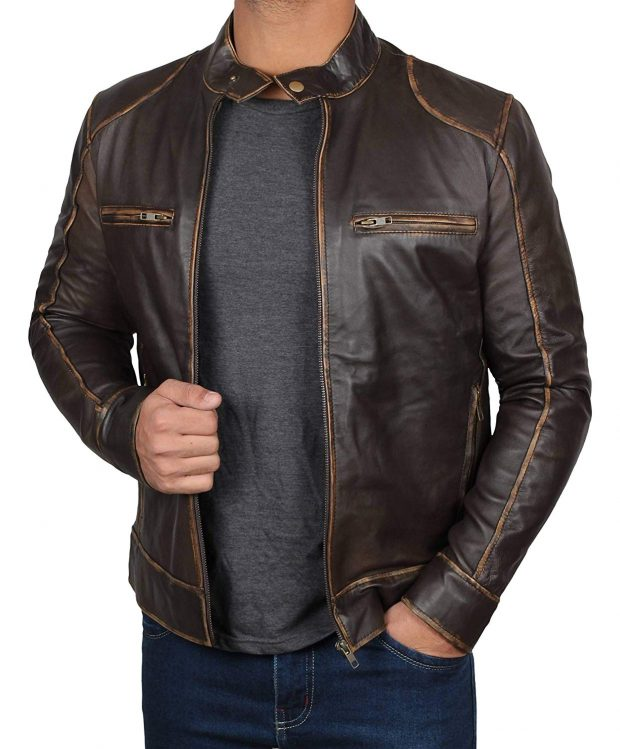 Dark brown leather jacket cafe racer men