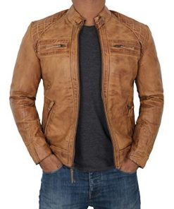 Distressed Leather Jacket Men