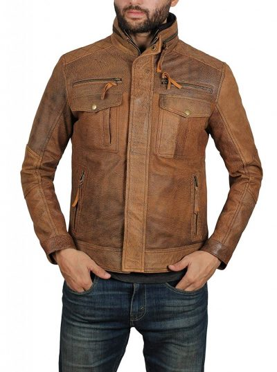Distressed brown leather jacket mens four pockets