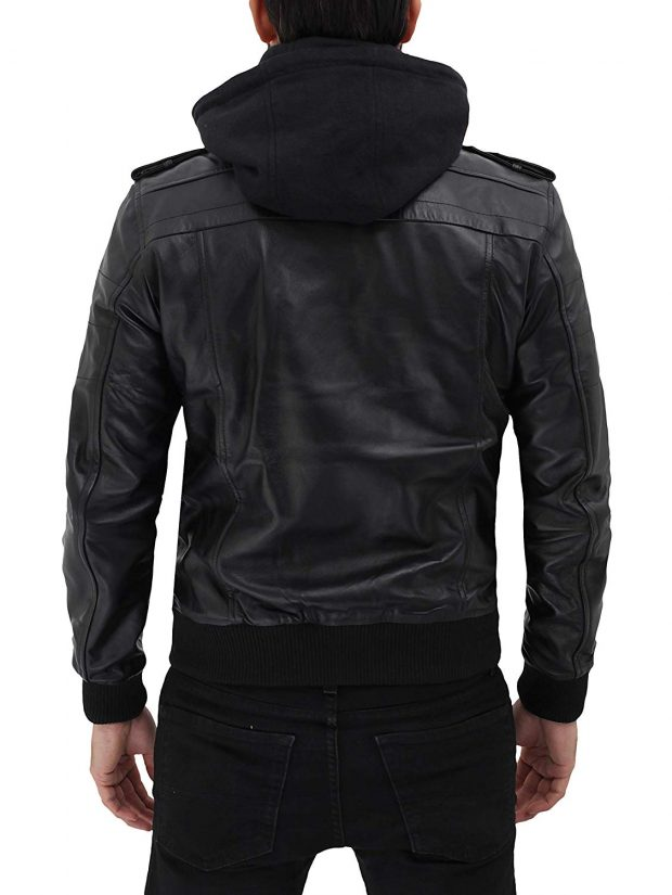 Hooded bomber leather jacket men