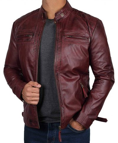 Johnson Maroon Real Leather Jacket for men