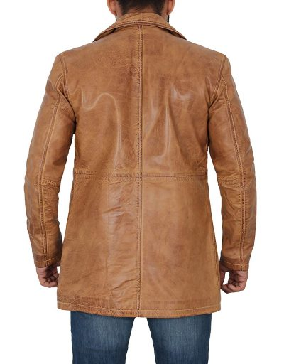Light Brown long Leather Jacket Coat