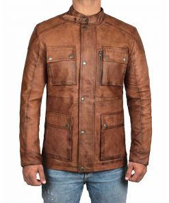 Men Distressed brown four pocket leather jacket
