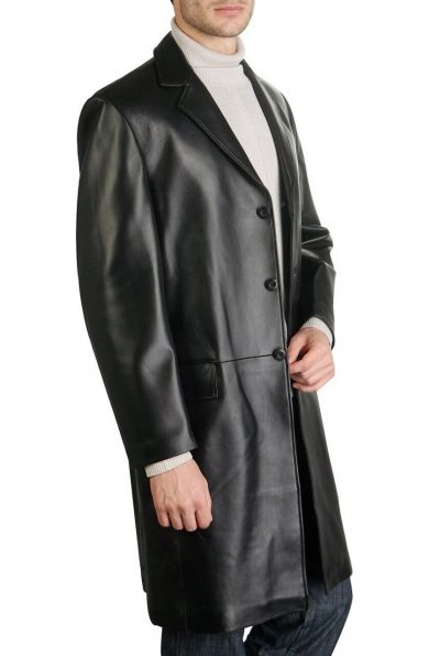 Men black leather coat real leather walking inspired