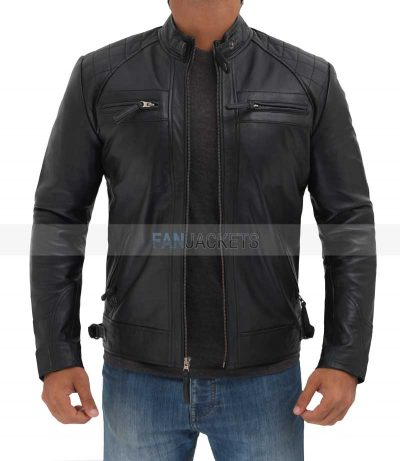 Men black leather jacket biker style