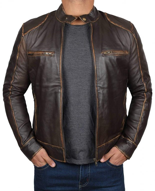 Men brown leather jacket cafe racer