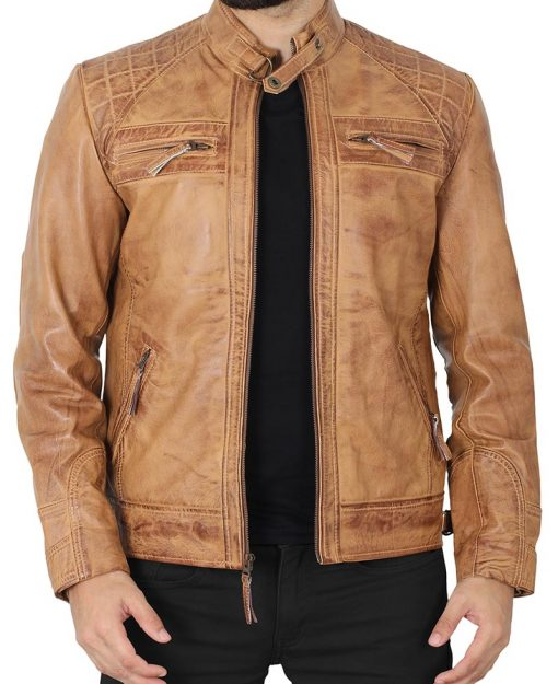 Men quilted brown biker jacket
