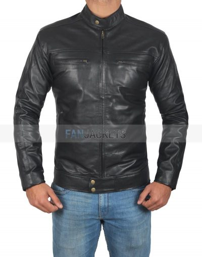 Men vintage leather black jacket