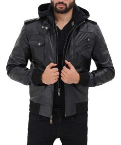 Mens Black Hooded Bomber Leather Jacket