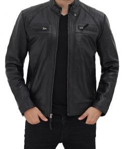 Mens Black Quilted biker leather jacket