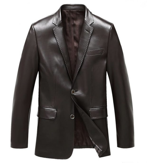 Mens Brown Leather Blazer