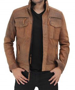 Mens Distressed Brown Leather Jacket biker