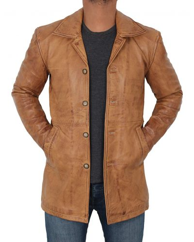 Mens Light Brown Leather Jacket Coat
