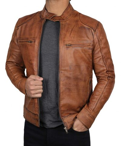 Mens brown leather jacket cafe racer