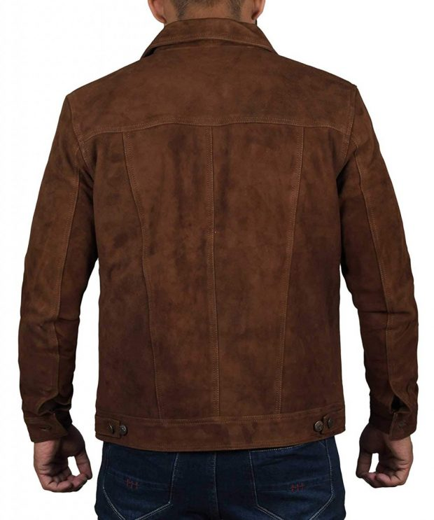 Mens dark brown suede leather jacket