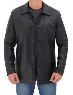 Mens distressed black real leather coat