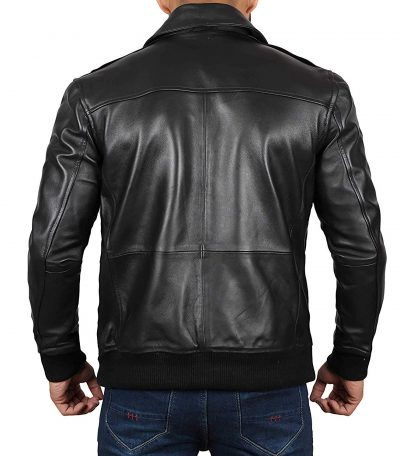 Mens real leather bomber jacket