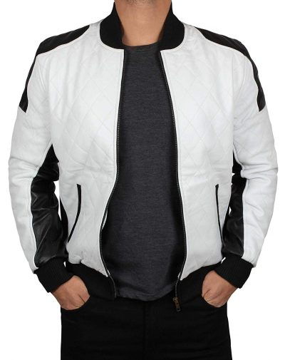 Mens white and balck leather jacket