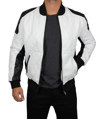 Mens white bomber jacket real leather