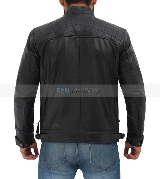 Moto racer biker jacket black mens