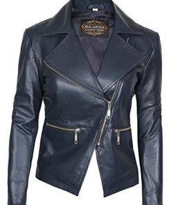 Navy Leather Jacket Women