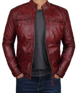 Premium burgundy leather jacket men
