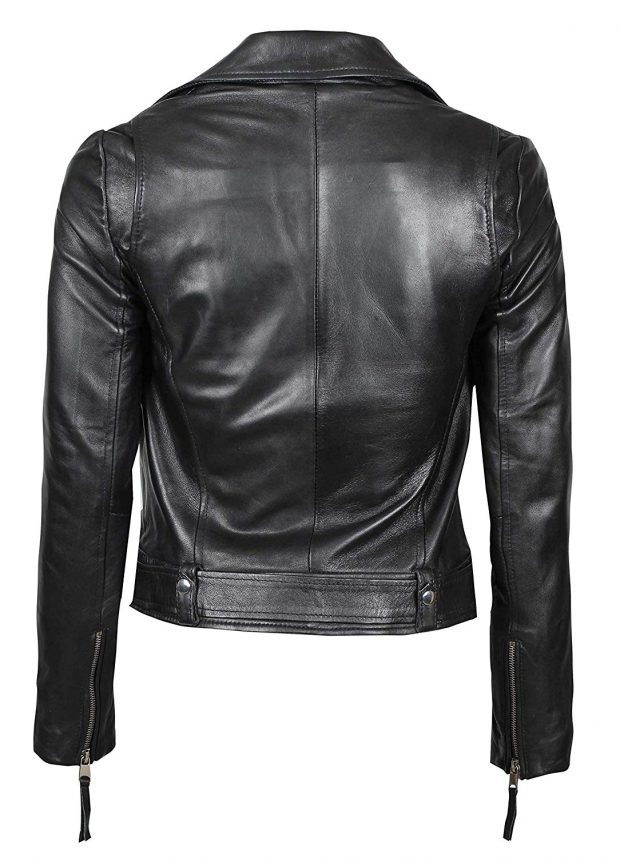 Real leather black jacket womens