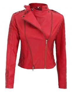 Red leather jacket women