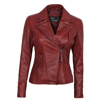 Red maroom leather jacket women biker