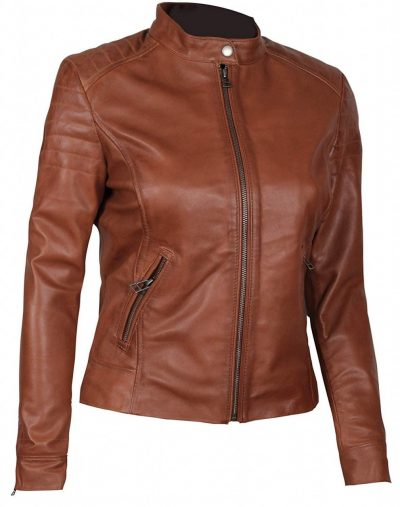 Slim fit brown leather jacket women