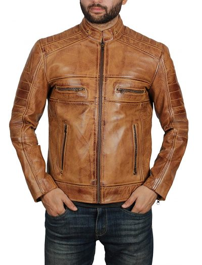 Stylish brown leather jacket new